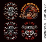 a bundle of biker themed vector ... | Shutterstock .eps vector #1985907914