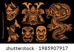 black and white vector samurai... | Shutterstock .eps vector #1985907917
