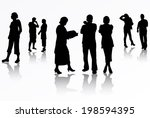 people silhouettes   Shutterstock .eps vector #198594395