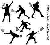 set of tennis player in... | Shutterstock .eps vector #198605069