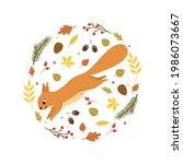 cute cartoon squirrel jumping... | Shutterstock .eps vector #1986073667