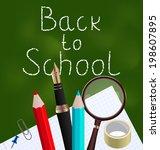 illustration blackboard with... | Shutterstock .eps vector #198607895