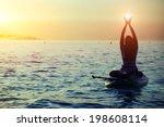 silhouette of a girl holding... | Shutterstock . vector #198608114