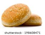 burger bun on a white...   Shutterstock . vector #198608471