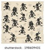 set of unarmed indians  vector   Shutterstock .eps vector #198609431
