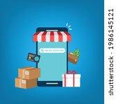 smartphone online shopping....   Shutterstock .eps vector #1986145121