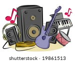 Music Items - Vector - stock vector