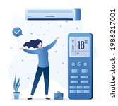 air conditioner cools air  big...   Shutterstock .eps vector #1986217001