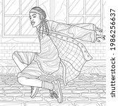 black guy dancing.coloring... | Shutterstock .eps vector #1986256637