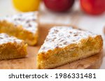 apple pie on wooden desk on...   Shutterstock . vector #1986331481