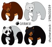 set of four bears  isolated.... | Shutterstock .eps vector #198633359