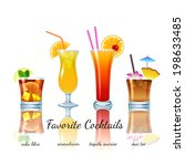 Favorite cocktails set isolated. Cuba Libre, Screwdriver, Tequila Sunrise, Mai Tai