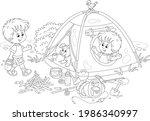 cheerful little boys tourists...   Shutterstock .eps vector #1986340997