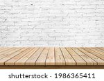 empty wooden table top on white ... | Shutterstock . vector #1986365411