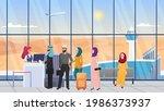 saudi arab people waiting in...   Shutterstock .eps vector #1986373937