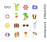 beach holiday icons. summer...
