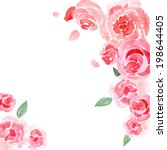 watercolor roses background... | Shutterstock .eps vector #198644405