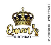 queen's birthday with crown and ...   Shutterstock .eps vector #1986494357