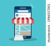 smartphone online shopping....   Shutterstock .eps vector #1986517001
