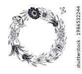 floral pattern. wreath of... | Shutterstock .eps vector #1986532244