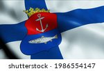3D Illustration of a waving Finland city flag of Kemi