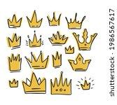 doodle crown yellow cartoon... | Shutterstock .eps vector #1986567617
