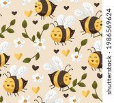 cartoon bee cute vector... | Shutterstock .eps vector #1986569624