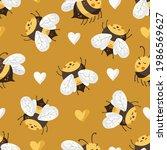 cartoon bee cute vector... | Shutterstock .eps vector #1986569627