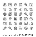 cyber security line icons.... | Shutterstock .eps vector #1986599054