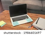 working from home minimalist...   Shutterstock . vector #1986601697