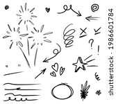 hand drawn set of curly swishes ... | Shutterstock .eps vector #1986601784
