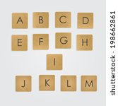 ABC on wooden blocks vector set.  Alphabet. Wooden scrabble game. Part one.