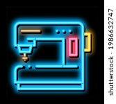 sewing machine neon light sign...   Shutterstock .eps vector #1986632747