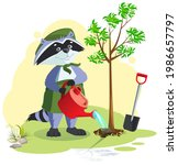 scout planting and watering...   Shutterstock .eps vector #1986657797