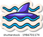 hand drawn shark icon in...   Shutterstock .eps vector #1986701174