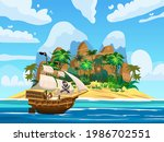 pirate ship under sail in ocean ... | Shutterstock .eps vector #1986702551