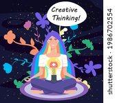 girl with bulb  idea. creative... | Shutterstock .eps vector #1986702554