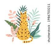 jungle jaguar. rainforest...   Shutterstock . vector #1986703211