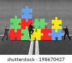 business people assembling... | Shutterstock . vector #198670427