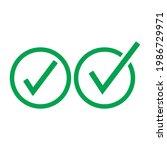 check mark green line icons....   Shutterstock .eps vector #1986729971