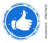 thumbs up symbol blue round... | Shutterstock .eps vector #198674615