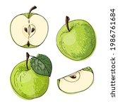 apple green fruits. vector food ...   Shutterstock .eps vector #1986761684