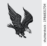 tattoo tribal gray eagle... | Shutterstock .eps vector #1986831704