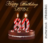 80th,anniversary,art,background,birthday,bow,bright,cake,candle,card,celebration,cheerful,congratulation,day,event