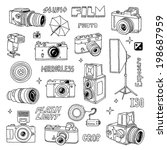 hand drawn photo cameras set 2. ... | Shutterstock .eps vector #198687959