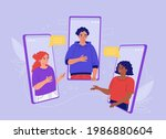 young people are talking on a... | Shutterstock .eps vector #1986880604