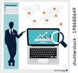 modern laptop  business working ... | Shutterstock .eps vector #198688649