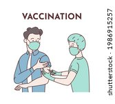 vaccination. a young man in... | Shutterstock .eps vector #1986915257