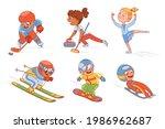 winter sports for children  ... | Shutterstock .eps vector #1986962687