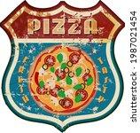 vintage nostalgic pizza and... | Shutterstock .eps vector #1987021454